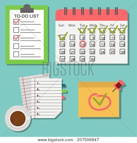 Vector notebook agenda business note meeting plan work reminder schedule calendar planner organizer appointment illustration. Memo book to do document. poster