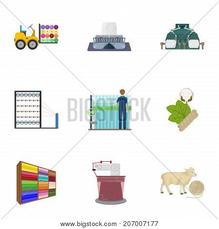 Textiles, industry, tissue, and other  icon in cartoon style.Machinery, machine, hoist icons in set collection