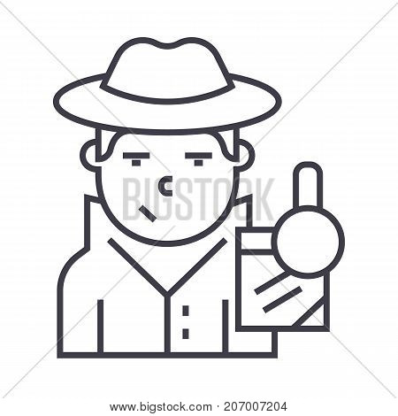 detective vector line icon, sign, illustration on white background, editable strokes
