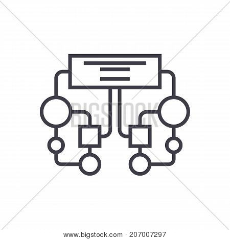 diagram, block vector line icon, sign, illustration on white background, editable strokes