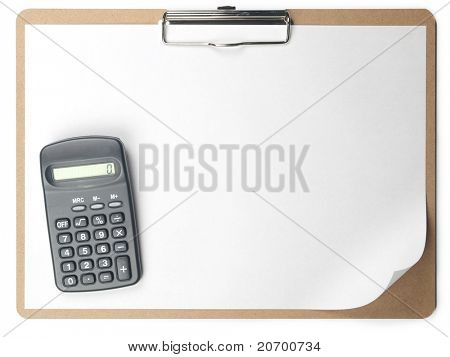 Horizontal clipboard with blank paper and calculator with curled page corner.