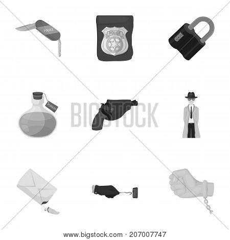 A detective, a pistol in a holster, a police badge, a magnifying glass and a fingerprint, criminal news and other attributes. Detective and crime set collection icons in monochrome style vector symbol stock illustration .