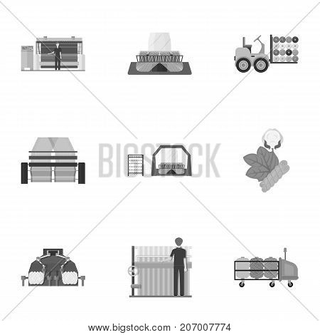 Textiles, industry, tissue, and other  icon in monochrome style.Machinery, machine, hoist icons in set collection