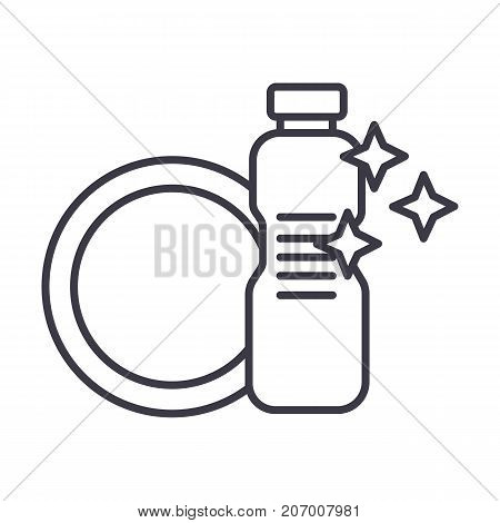 dish washing, dishwashing detergent vector line icon, sign, illustration on white background, editable strokes
