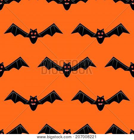 Seamless pattern with bats. Vector bats isolated on orange background. Silhouette of flying bat. Pattern for Hallowmas or Halloween. Mood of magic and sorcery.