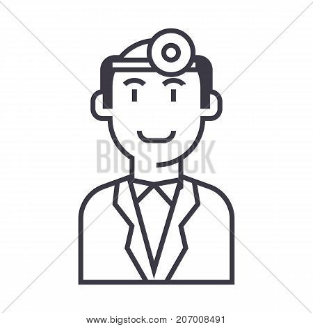 doctor checkup vector line icon, sign, illustration on white background, editable strokes
