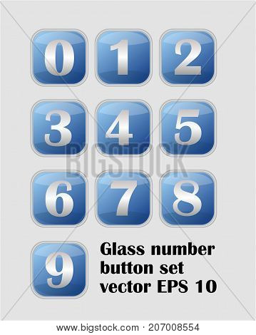 Artistic number set, blue buttons with metallic numbers, web design element, infographic collection, vector EPS 10