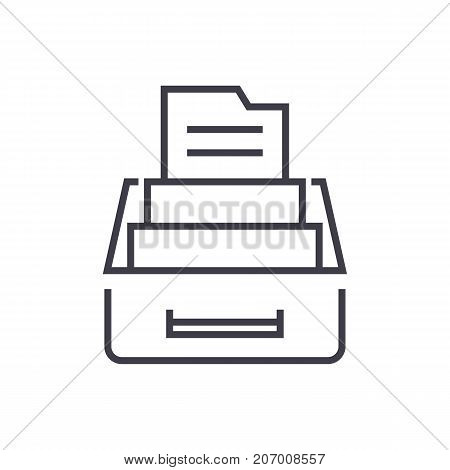 document archive, box with files vector line icon, sign, illustration on white background, editable strokes
