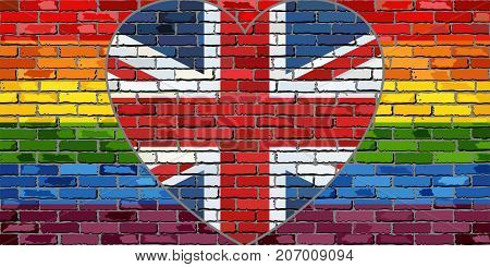 LGBT flag on a brick wall with the Great Britain heart - Illustration,  Abstract grunge United Kingdom flag and LGBT flag