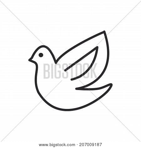 dove, bird vector line icon, sign, illustration on white background, editable strokes