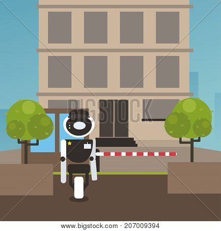 Domestic robot security guard standing at entrance gate of society building. Personal robot assistance futuristic concept illustration vector.
