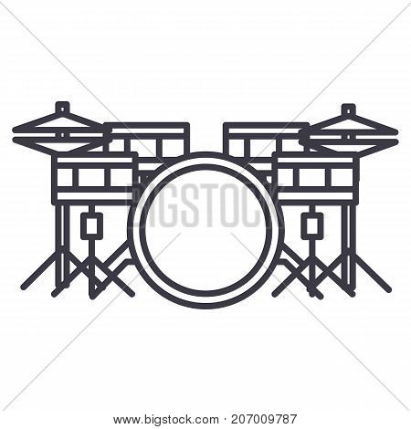 drums set vector line icon, sign, illustration on white background, editable strokes