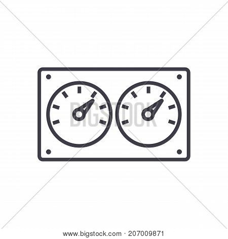 dual control meter  vector line icon, sign, illustration on white background, editable strokes