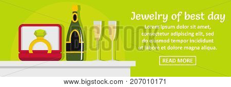 Jewelry of best day banner horizontal concept. Flat illustration of jewelry of best day banner horizontal vector concept for web design