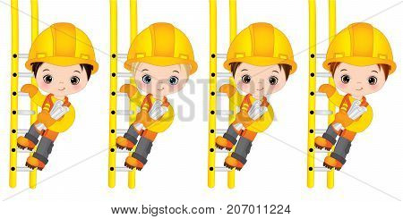 Vector cute little boys climbing up the ladders and holding drawings. Vector little boys with various hair colors. Little builders vector illustration
