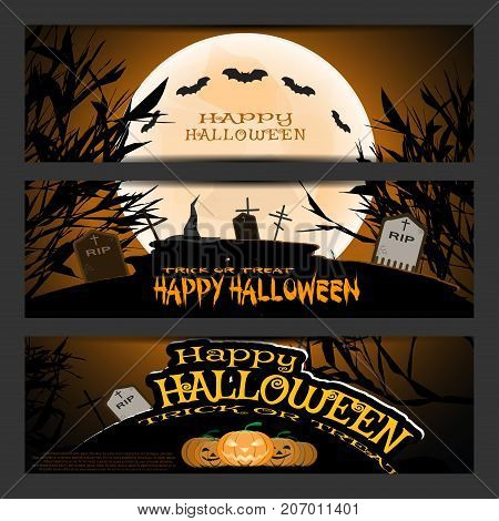 Vector set of Halloween bookmarks with silhouettes of trees full moon bats headstones grave crosses ghosts group of pumpkins wizard hat on the gradient dark brown background.