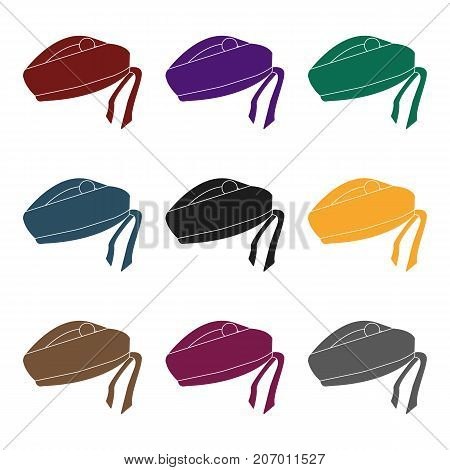 Scottish National traditional cap or beret with bubo and green checkered pattern in red colors.Scotland single icon in black style vector symbol stock  illustration.