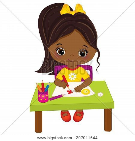 Vector cute little African American artist drawing. Vector cute little African American girl. Little artist vector illustration