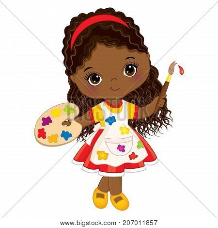 Vector cute little African American artist. Vector cute little African American girl with palette and paint brush. Little artist vector illustration