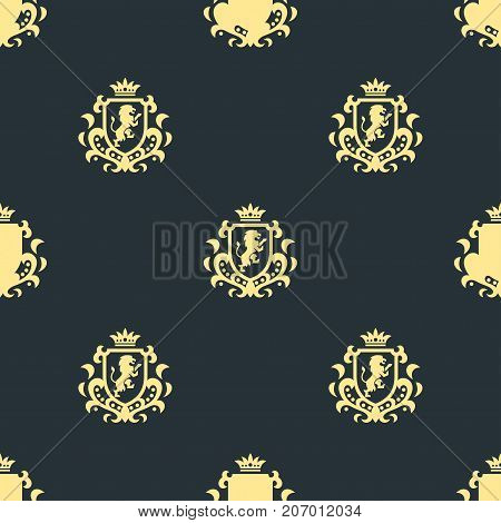 Luxury boutique Royal Crest high quality vintage product heraldry seamless pattern brand identity vector illustration. Decorative quality wreath line.