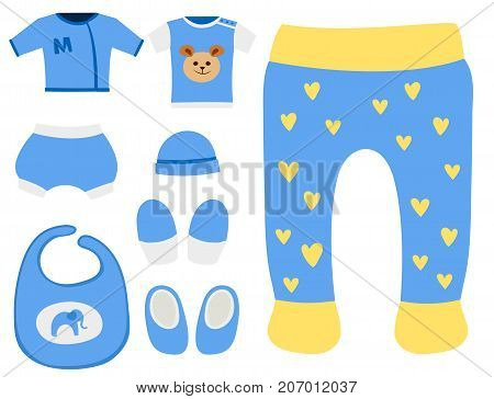 Vector baby clothes icon set design textile casual fabric colorful clothing dress. Child garment wear illustration. Cute object suit fashionable infant cotton.
