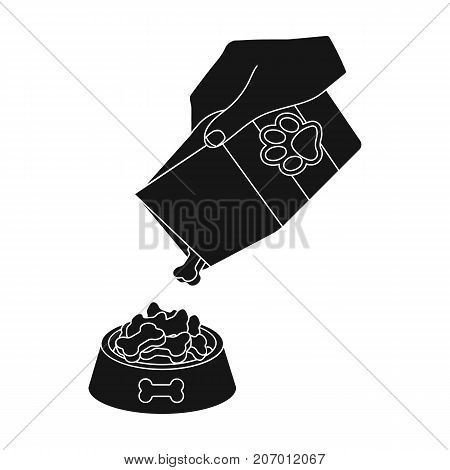 Feeding a pet, feed in a bowl. Pet, dog care single icon in black style vector symbol stock illustration .