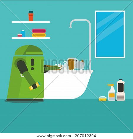 Domestic robot bathing pet dog in a bathtub. Personal household robot assistance futuristic concept illustration vector.