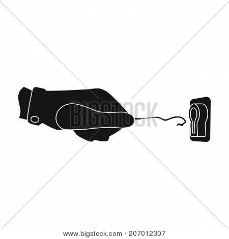 Lockpick in the hand of the criminal. Latchkey, thief tool, crime single icon in black style vector symbol stock illustration .