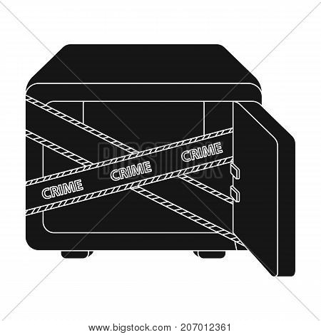 Opened safe with a protective tape. Creme, metal safe single icon in black style vector symbol stock illustration .