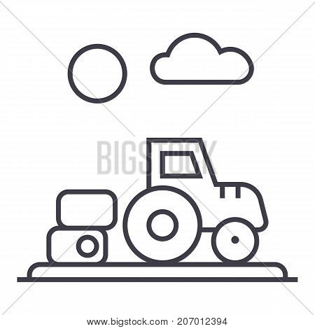 farm harvest, tractor vector line icon, sign, illustration on white background, editable strokes
