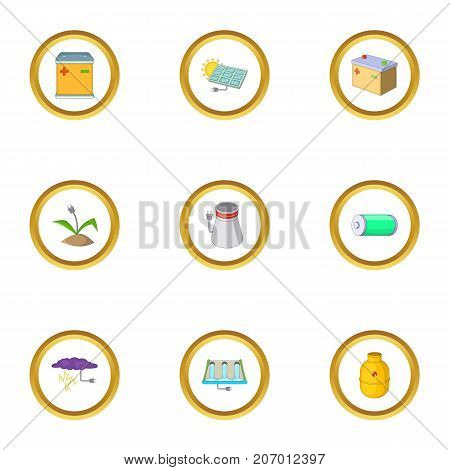 Power generation icons set. Cartoon style set of 9 power generation vector icons for web design