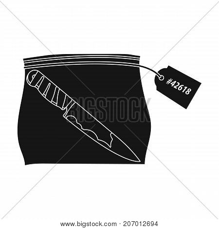 Bloodied knife in the package with a tag. Knife, criminal things single icon in black style vector symbol stock illustration .