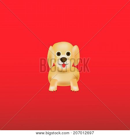 Illustration with dog. Red background with nice dog.