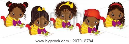 Vector cute little African American girls with various hair styles. Vector little African American artists painting. Little artists vector illustration