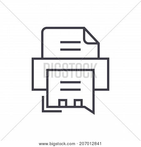 fax printer vector line icon, sign, illustration on white background, editable strokes