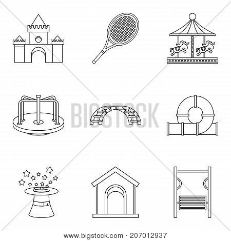 Rest in kindergarten icons set. Outline set of 9 rest in kindergarten vector icons for web isolated on white background