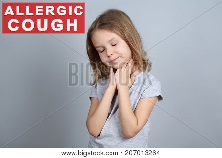 Little girl and text ALLERGIC COUGH on grey background