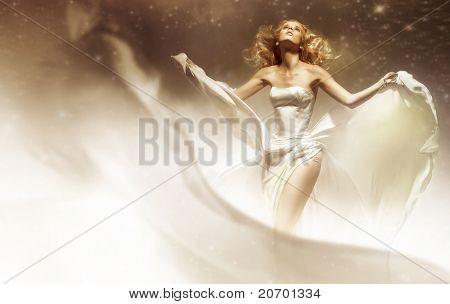 Sexy woman wearing wedding dress