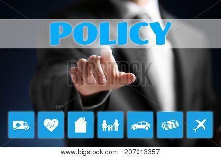 Man working with virtual screen. Concept of insurance policy