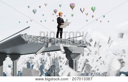 Confident engineer in helmet keeping drawing in hands while standing among flying papers on broken bridge with flying balloons on background. 3D rendering.