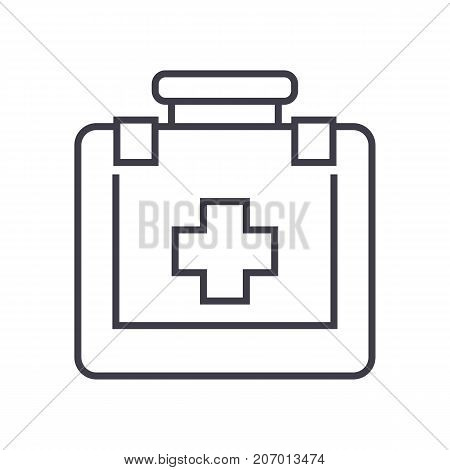 first aid vector line icon, sign, illustration on white background, editable strokes