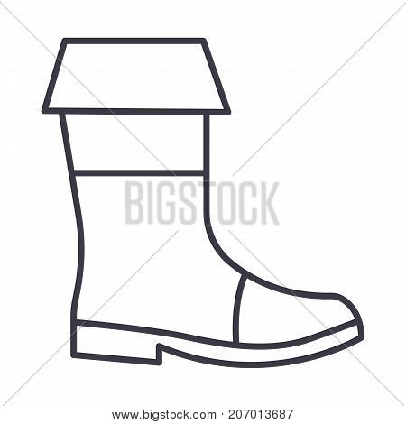fishing boots vector line icon, sign, illustration on white background, editable strokes