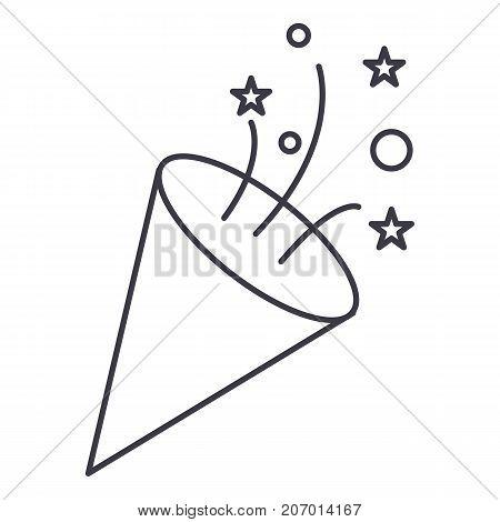 flapper, petard vector line icon, sign, illustration on white background, editable strokes