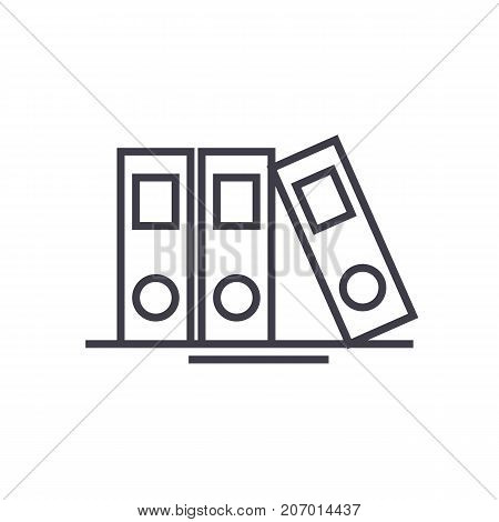 folders and files vector line icon, sign, illustration on white background, editable strokes