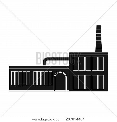 Factory, single icon in black style.Factory, vector symbol stock illustration .