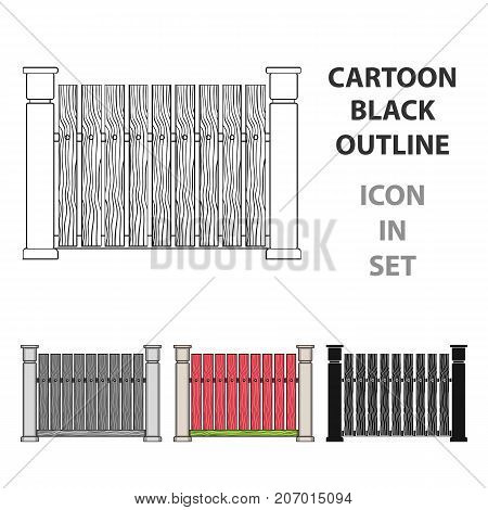A wooden fence. A different fence single icon in cartoon style vector symbol stock illustration .