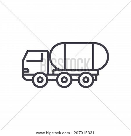 fuel truck vector line icon, sign, illustration on white background, editable strokes