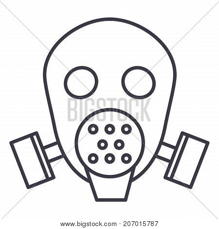 gas mask respirator  vector line icon, sign, illustration on white background, editable strokes