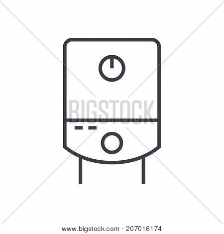 gas tank, water boiler vector line icon, sign, illustration on white background, editable strokes