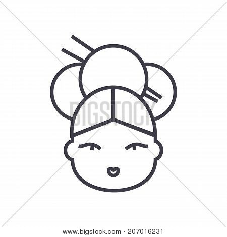 geisha vector line icon, sign, illustration on white background, editable strokes